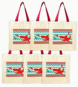 Shark Party Tote Bags - Set of 6 Party Favor Bags