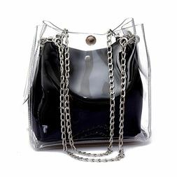 Small Bucket Chain Bags Plastic Transparent Totes for Women