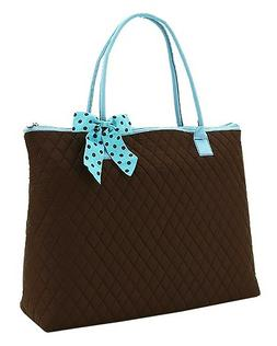 Solid Brown Extra Large XL Quilted Tote Bag Womens Ladies Bo