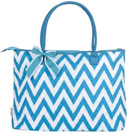 Teal Blue Chevron Extra Large XL Quilted Tote Bag Womens Lad