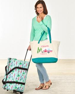 Tote Bag for Women or Rolling duffle Travel Blue Retro Campe
