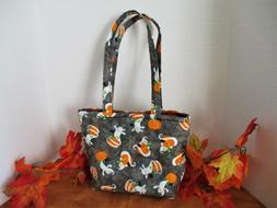TOTE/BAG/PURSE~FALL/HALLOWEEN~SMILING GHOSTS & PUMPKINS~GRAY