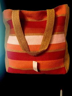 Talbots Tote Beach Bag Woven Lined Inside Pockets New With T