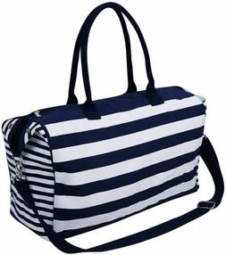 Travel Tote Luggage, Canvas Storage Bag With Blue Stripes An