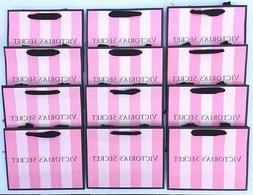 VICTORIAS SECRET PINK STRIPED PAPER SHOPPING BAGS GIFT TOTE