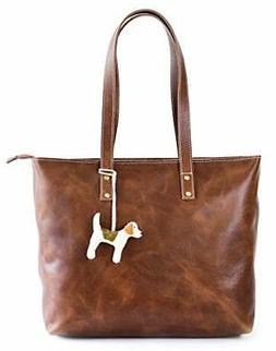 Vintage Genuine Leather Tote Bag for Women with Zipper - Lar