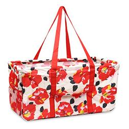 Zodaca Wireframe Utility Tote Bag, Red Marion Floral Print