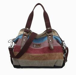 Women's Canvas Handbag Hobo Bag Rainbow Striped Cross Body P