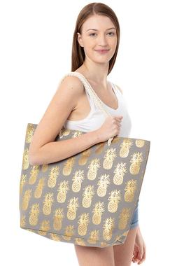 Jinscloset Women's Fashion Pineapple Vacation Canvas Tote Gl