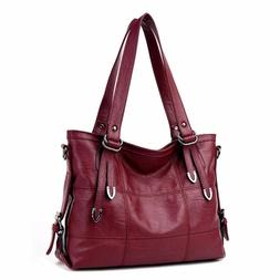 Women's Leather Tote Bag - Red with Zipper