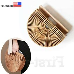 Women's Bamboo Bag Handmade Handbag Ladies Clutch Bag Tote B
