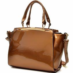 Dasein Womens Handbags Faux Patent Leather Satchel Tote Bags