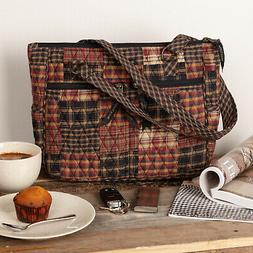 Women's Rustic Quilted Tote Bag Red & Black Plaid Fabric Sho